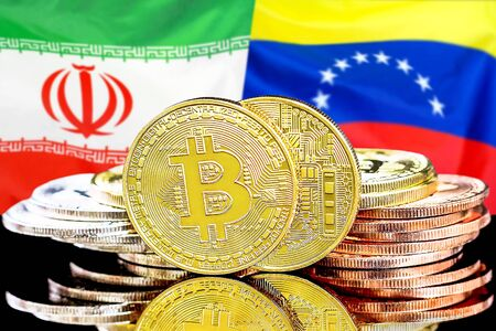 Concept for investors in cryptocurrency and Blockchain technology in the Iran and Venezuela. Bitcoins on the background of the flag Iran and Venezuela.