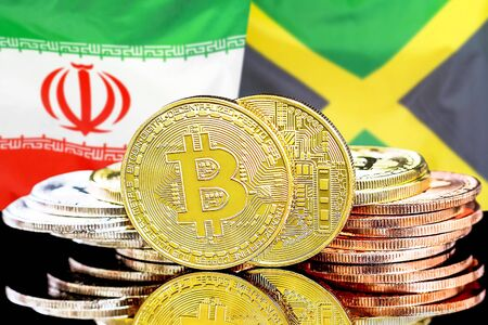 Concept for investors in cryptocurrency and Blockchain technology in the Iran and Jamaica. Bitcoins on the background of the flag Iran and Jamaica.