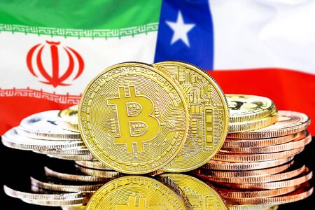 Concept for investors in cryptocurrency and Blockchain technology in the Iran and Chile. Bitcoins on the background of the flag Iran and Chile.
