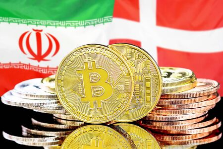 Concept for investors in cryptocurrency and Blockchain technology in the Iran and Denmark. Bitcoins on the background of the flag Iran and Denmark.