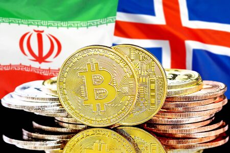 Concept for investors in cryptocurrency and Blockchain technology in the Iran and Iceland. Bitcoins on the background of the flag Iran and Iceland. Banco de Imagens