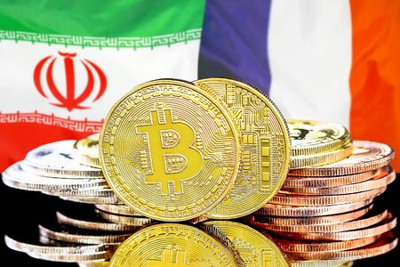 Concept for investors in cryptocurrency and Blockchain technology in the Iran and France. Bitcoins on the background of the flag Iran and France.