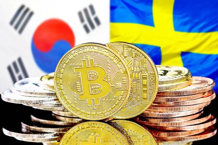 Concept for investors in cryptocurrency and Blockchain technology in the South Korea and Sweden. Bitcoins on the background of the flag South Korea and Sweden.