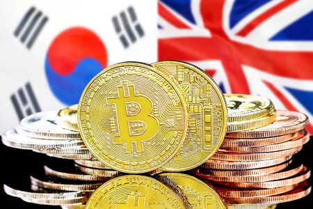 Concept for investors in cryptocurrency and Blockchain technology in the South Korea and United Kingdom. Bitcoins on the background of the flag South Korea and UK.