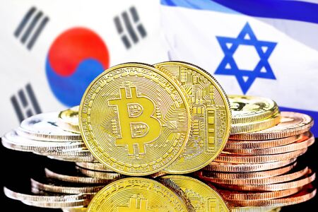 Concept for investors in cryptocurrency and Blockchain technology in the South Korea and Israel. Bitcoins on the background of the flag South Korea and Israel.
