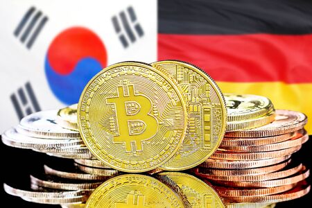 Concept for investors in cryptocurrency and Blockchain technology in the South Korea and Germany. Bitcoins on the background of the flag South Korea and Germany.