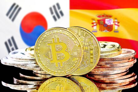 Concept for investors in cryptocurrency and Blockchain technology in the South Korea and Spain. Bitcoins on the background of the flag South Korea and Spain.