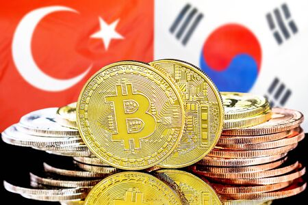 Concept for investors in cryptocurrency and Blockchain technology in the Turkey and South Korea. Bitcoins on the background of the flag Turkey and South Korea.