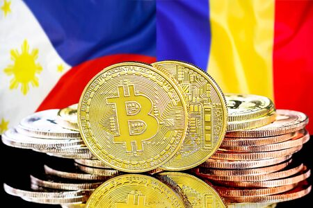Concept for investors in cryptocurrency and Blockchain technology in the Philippines and Moldova. Bitcoins on the background of the flag Philippines and Moldova. Foto de archivo