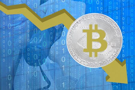 Bitcoin price fall chart. Bitcoins fall chart. Bitcoins and New Virtual money concept. Biktoken fall chart.