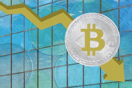 Bitcoin price fallchart. Bitcoins fall chart. Bitcoins and New Virtual money concept. Biktoken fall chart.