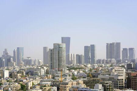 Panorama of the modern city center of Tel Aviv. Morning view of the business center of Tel Aviv, Israel. Modern city.