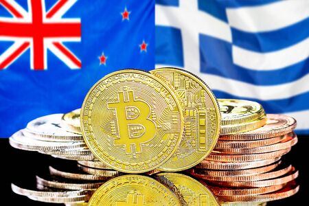 Concept for investors in cryptocurrency and Blockchain technology in the New Zealand and Greece. Bitcoins on the background of the flag New Zealand and Greece.