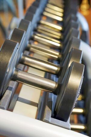 Rows of dumbbells in the gym