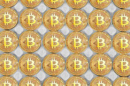 Gold Bitcoins on a tray for chicken eggs. Bitcoins Farm - concept. Bitcoins in carton box. Top view Bitcoins background