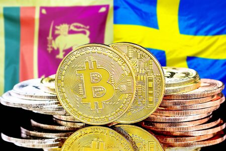 Concept for investors in cryptocurrency and Blockchain technology in the Sri Lanka and Sweden. Bitcoins on the background of the flag Sri Lanka and Sweden.