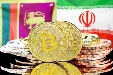Concept for investors in cryptocurrency and Blockchain technology in the Sri Lanka and Iran. Bitcoins on the background of the flag Sri Lanka and Iran. Stock Photo