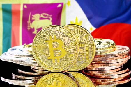 Concept for investors in cryptocurrency and Blockchain technology in the Sri Lanka and Philippines. Bitcoins on the background of the flag Sri Lanka and Philippines. Stock Photo