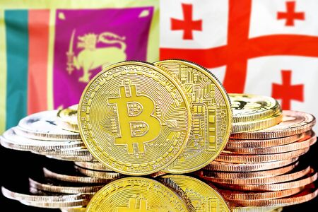 Concept for investors in cryptocurrency and Blockchain technology in the Sri Lanka and Georgia. Bitcoins on the background of the flag Sri Lanka and Georgia.