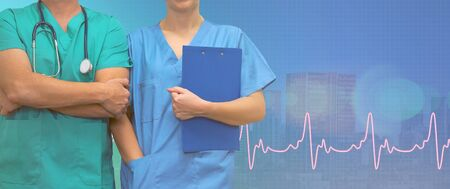 Surgeon man and woman nurse with a folder on ecg line medical blue city background. Medical web sites with copy space. Medical help concept in countries. Health care banner. Stock Photo