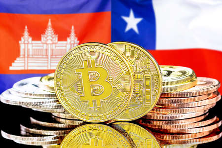 Concept for investors in cryptocurrency and Blockchain technology in the Cambodia and Chile. Bitcoins on the background of the flag Cambodia and Chile.