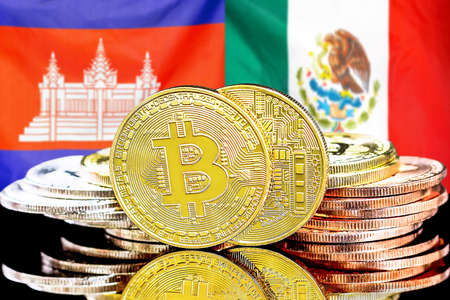 Concept for investors in cryptocurrency and Blockchain technology in the Cambodia and Mexico. Bitcoins on the background of the flag Cambodia and Mexico. Banque d'images