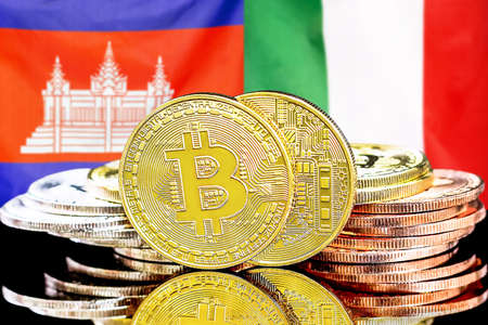 Concept for investors in cryptocurrency and Blockchain technology in the Cambodia and Italy. Bitcoins on the background of the flag Cambodia and Italy.