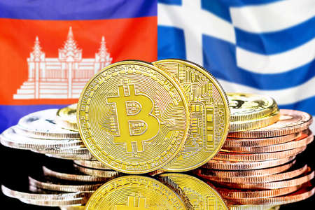 Concept for investors in cryptocurrency and Blockchain technology in the Cambodia and Greece. Bitcoins on the background of the flag Cambodia and Greece.
