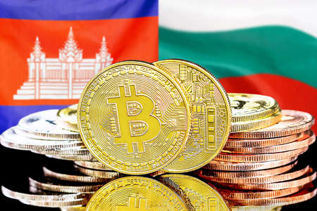 Concept for investors in cryptocurrency and Blockchain technology in the Cambodia and Bulgaria. Bitcoins on the background of the flag Cambodia and Bulgaria.