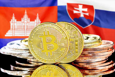 Concept for investors in cryptocurrency and Blockchain technology in the Cambodia and Slovakia. Bitcoins on the background of the flag Cambodia and Slovakia. Banque d'images