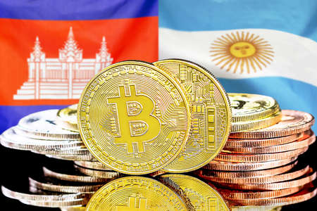 Concept for investors in cryptocurrency and Blockchain technology in the Cambodia and Argentina. Bitcoins on the background of the flag Cambodia and Argentina. Banque d'images