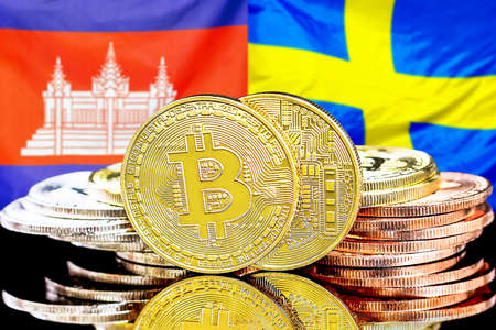 Concept for investors in cryptocurrency and Blockchain technology in the Cambodia and Sweden. Bitcoins on the background of the flag Cambodia and Sweden.