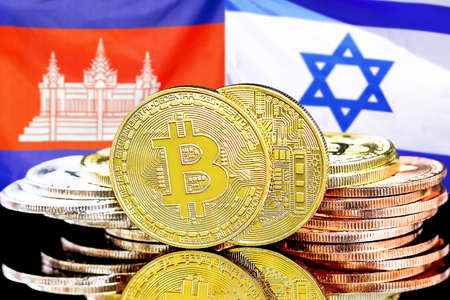 Concept for investors in cryptocurrency and Blockchain technology in the Cambodia and Israel. Bitcoins on the background of the flag Cambodia and Israel.