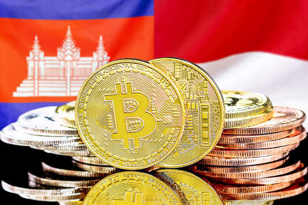 Concept for investors in cryptocurrency and Blockchain technology in the Cambodia and Monaco. Bitcoins on the background of the flag Cambodia and Monaco.