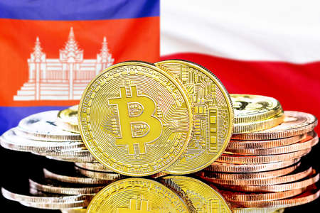 Concept for investors in cryptocurrency and Blockchain technology in the Cambodia and Poland. Bitcoins on the background of the flag Cambodia and Poland. Banque d'images