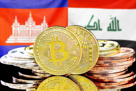 Concept for investors in cryptocurrency and Blockchain technology in the Cambodia and Iraq. Bitcoins on the background of the flag Cambodia and Iraq.