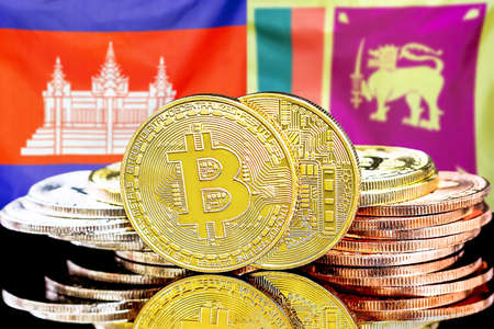 Concept for investors in cryptocurrency and Blockchain technology in the Cambodia and Sri Lanka. Bitcoins on the background of the flag Cambodia and Sri Lanka. Banque d'images