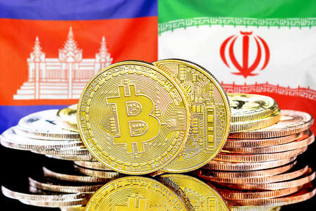 Concept for investors in cryptocurrency and Blockchain technology in the Cambodia and Iran. Bitcoins on the background of the flag Cambodia and Iran.
