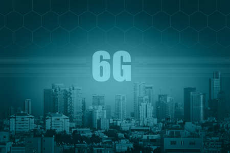 6G technology. Conceptual abstraction. Modern city and communication 6g network, smart city. Blue tone city scape and network connection concept.