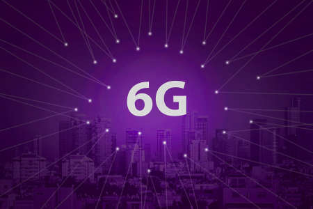 6G technology. Conceptual abstraction. Modern city and communication 6g network, smart city. Purple tone city scape and network connection concept.