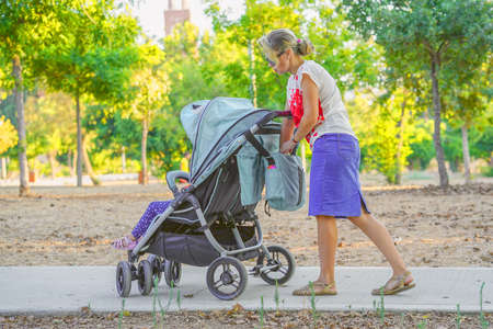 Woman with a baby carriage for two children walks in the park on a summer morning. Walking. Back view.