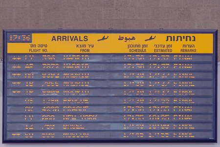 Airport flight schedule with the list of flights and information on registration. 29 August 2018. Ben Gurion Airport. Tel Aviv. Israel.
