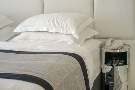 Double bed in the hotel. Modern double bed in bedroom interior in the hotel.