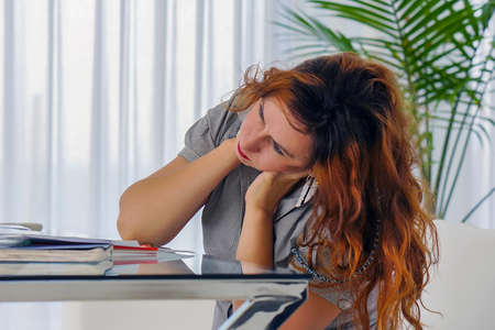 Office manager woman suffering from neck pain. Female feeling tired, exhausted, stressed. Body and health care concept.