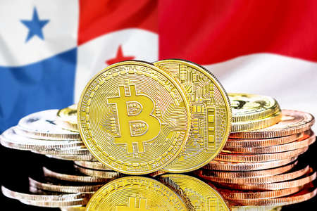 Concept for investors in cryptocurrency and Blockchain technology in the Panama and Monaco. Bitcoins on the background of the flag Panama and Monaco. Foto de archivo