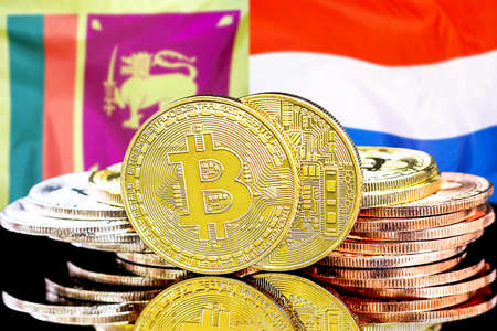 Concept for investors in cryptocurrency and Blockchain technology in the Sri Lanka and Netherlands. Bitcoins on the background of the flag Sri Lanka and Netherlands. Foto de archivo