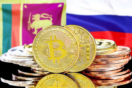 Concept for investors in cryptocurrency and Blockchain technology in the Sri Lanka and Russia. Bitcoins on the background of the flag Sri Lanka and Russia.