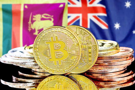 Concept for investors in cryptocurrency and Blockchain technology in the Sri Lanka and Australia. Bitcoins on the background of the flag Sri Lanka and Australia.