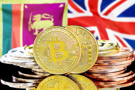 Concept for investors in cryptocurrency and Blockchain technology in the Sri Lanka and United Kingdom. Bitcoins on the background of the flag Sri Lanka and UK.