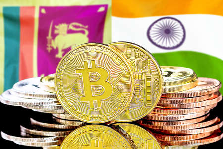 Concept for investors in cryptocurrency and Blockchain technology in the Sri Lanka and India. Bitcoins on the background of the flag Sri Lanka and India.